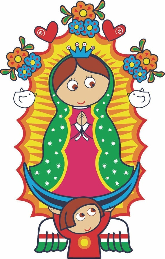 2 Pieces Our Lady Of Guadalupe Virgen Decals Stickers Full