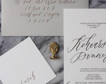 Calligraphy Rehearsal Dinner Invitation - Romantic