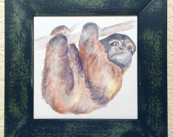 Sloth watercolor in distressed frame