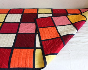 baby quilt hand quilted patch work double sided %100 cotton