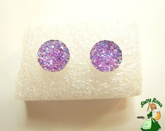 Stud Earring 10mm Druzy Crystals Resin Iridescent Light Purple Lilac Violet