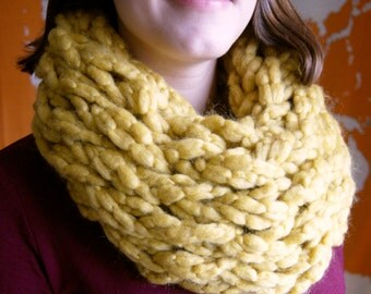Mustard Chunky Knit Infinity Scarf