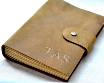 Leather Journal, Leather Notebook/Sketchbook, handmade gifts for him (Free Stamp )
