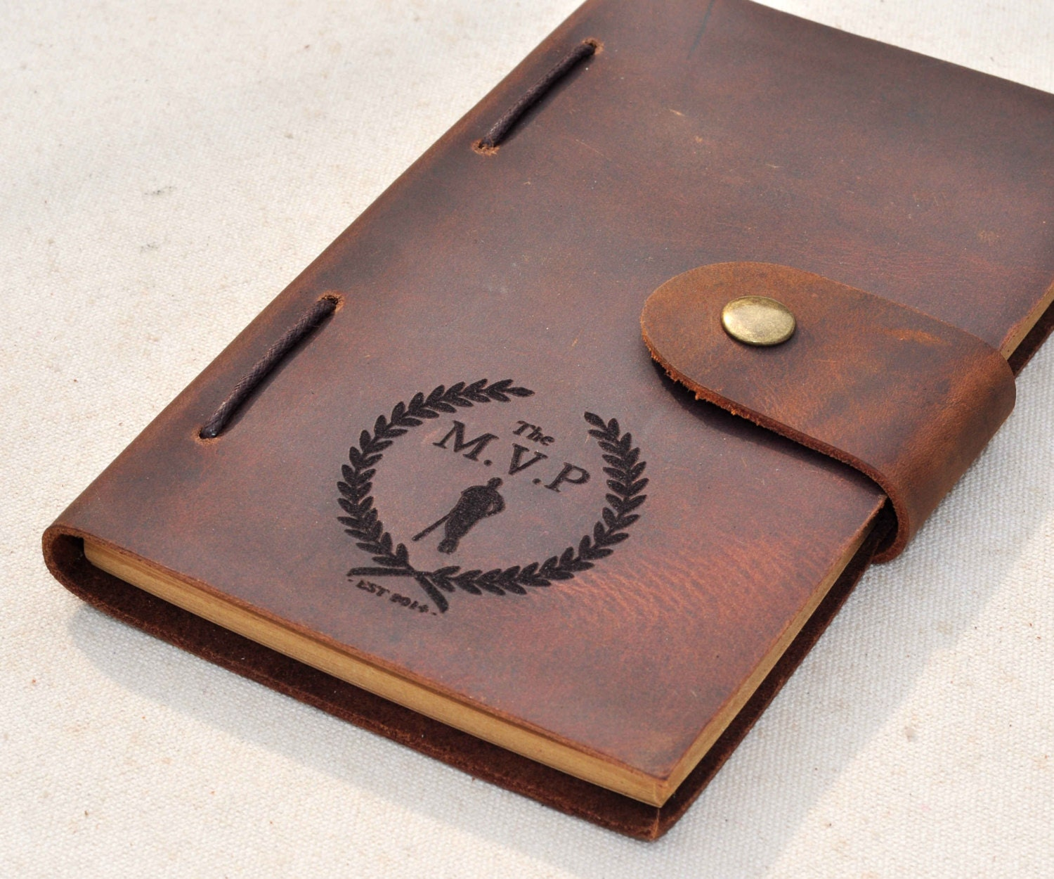Personalized Monogrammed Engraved Notebook Leather Travel