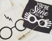 Custom Luna Lovegood shirt, signature harry potter canvas tote & FREE wand