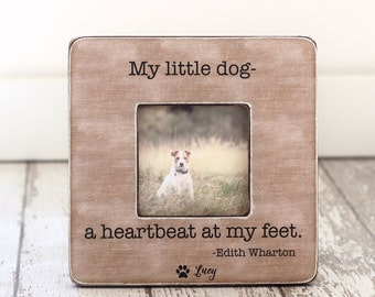 Pet Gift Pet Lover Owner Pet Loss Sympathy Personalized Picture Frame 'My Little Dog a Hearthbeat at My Feet' Quote