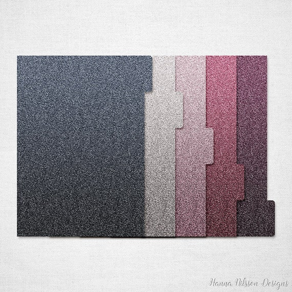 A5 tabbed planner printable ombre glitter dividers and