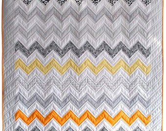 Monochrome Sunset Quilt Kit - Pre-cut Quilt Kit, Craft Kit, Riley Blake, Zig-Zag Quilt