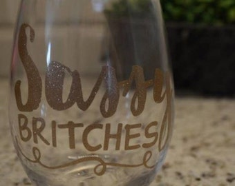 Sassy Britches stemless wineglass