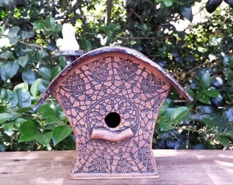 Handmade Stoneware Birdhouse with Rounded Rooftop and Bird