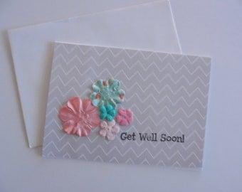 FREE SHIPPING--Get Well Soon- Get Well Card- Chevron Get Well- Handmade Card- Get Well Note Card- Get Better Card- Friendship Card