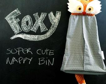 Diaper storage hanger nappy stuffed Fox stacker hamper nursery crib orange/grey