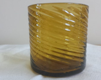 Vintage Mexican Hand Blown Glass Votive w/ Swirl