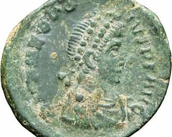 Roman Empire 379 - 395 Theodosius I Copper Nummus  Constantinople mint