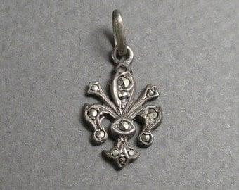 small 800 silver marcasite fleur de lys pendant / charm