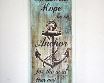 Hebrews 6:19 Driftwood Wall Decor