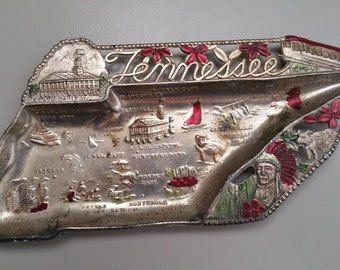 Vintage Tennessee Souvenir Metal State Shaped Ashtray Made In JAPAN 1950s-60s VG