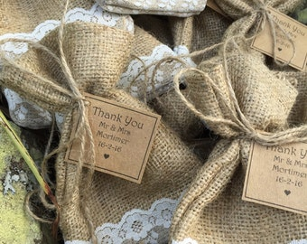 Rustic Hessian bag wedding favours
