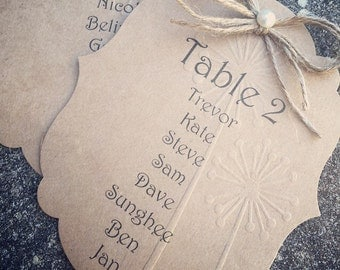 Table seating cards