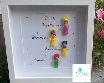 Disney Princess Lego minifigure personalised frame