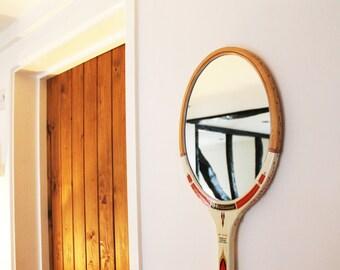 Vintage Tennis Racket Mirror