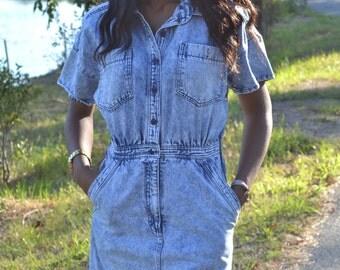 Vintage acid wash dress/ Vintage denim dress/ Vintage dress/ Size 11/12