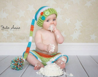 Boys Cake Smash Outfit - Sitter Prop - First Birthday Outfit - Short and Hat Set - Smash Set Prop - Boy Outfit - Photography Props - Pom Pom