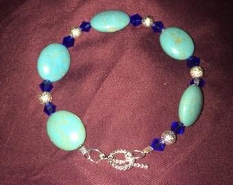 Turquoise and Swarovski Crystal Bracelet