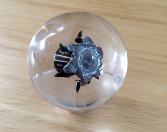 "Winchester ""Black Talon"" 9mm 147gr Law Enforcement Bullet - Fully Expanded - Encased In Resin Sphere - Clear Acrylic Stand Included"