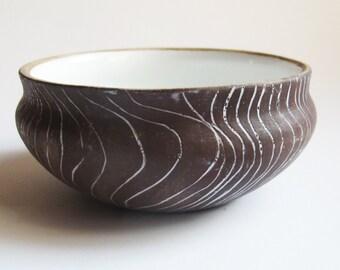 Brown Ceramic bowl -Sgraffito technique-Decorative hand crafted