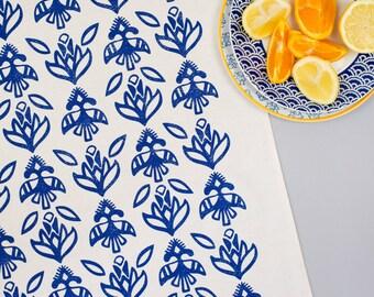 Floral Navy Tea Towel