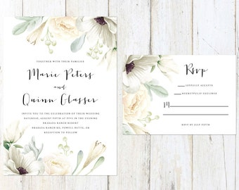 Floral Wedding Invitation, White Flowers Wedding Invitation, Rustic Wedding Invitation, Anemones Wedding Invite