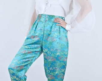Sweet Vintage Oriental Turquoise Green Pictorial Satin Cropped Pant