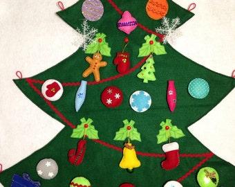 Felt Christmas tree/ Winter tree/Елка из фетра/Новогодняя Елка-quiet toy-felt story-montessori felt board-buttoning/velcro/loop activity/