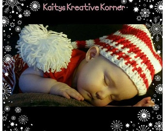 MADE TO ORDER - Crochet christmas nightcap, red and white stripes, stocking cap, pom poms, christmas hat/beanie, baby, toddler, child, adult