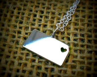I heart Kansas Necklace - Kansas Pendant - State Necklace - State Charm - Map necklace - Map Jewelry