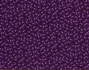Small Light Purple Bell Flowers on Purple Background- 100% Cotton Quilting Fabric