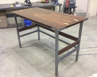 The Monroe Reclaimed Wood Trestle Table Office Desk By