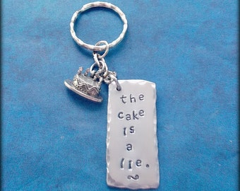 The Cake is a Lie Key Chain // Portal 2 Keychain // Hand Stamped Accessory // Gamer Gift // Video Game Inspired Jewelry  // Gift Under 10