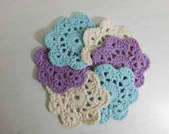 Crochet Coasters, Cotton Coasters, Retro Coasters, Flower Coasters, Cotton Flower Coaster {set of 6}