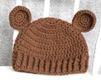 handmade crochet bear hat in 6 month size