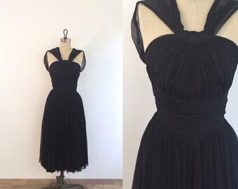 1960s Black Chiffon Party Dress | xs/small