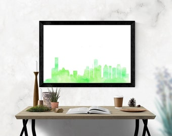Houston Skyline Watercolor Print