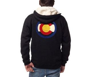 Colorado Hoody Heavyweight Sherpa Lined Men's Colorado Flag Hoodie Zip Hood Colorado Flag Design Colorado Clothing Colorado Apparel Denver