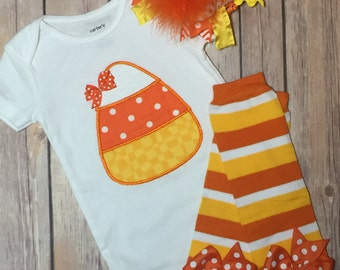 Candy Corn Halloween Bodysuit ~ Candy Corn Leg Warmers ~ Over the Top Candy Corn Bow/Headband ~ Candy Corn Complete Outfit
