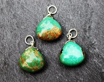 ONE Turquoise Briolette Dangle, Charm, Sterling Silver