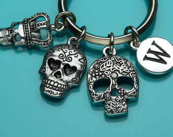 Sugar Skulls Keychain, Three Skull Key Ring, Flower Skull, Initial Keychain, Personalized Keychain, Charm Keychain, 731, 690, 326