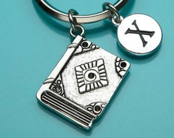 Book Keychain, Antique Book Key Ring, Reading Charm, Leather Book Charm, Initial Keychain, Personalized Keychain, Custom Keychain, 723