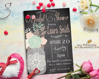 Mason Jar Bridal Shower Invitation / Digital Printable Birthday Invite for Wedding / DIY Party