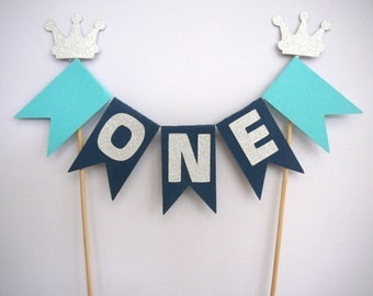 Personalised navy blue, turquoise and silver glitter boys birthday cake bunting- cake banner- cake topper